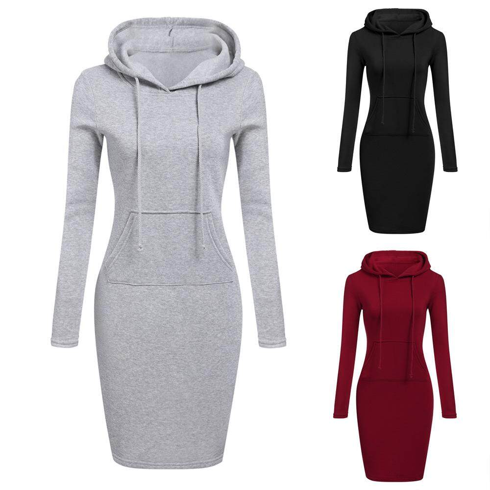 Miorie Long Sleeve Shirt Dress With Hoodie