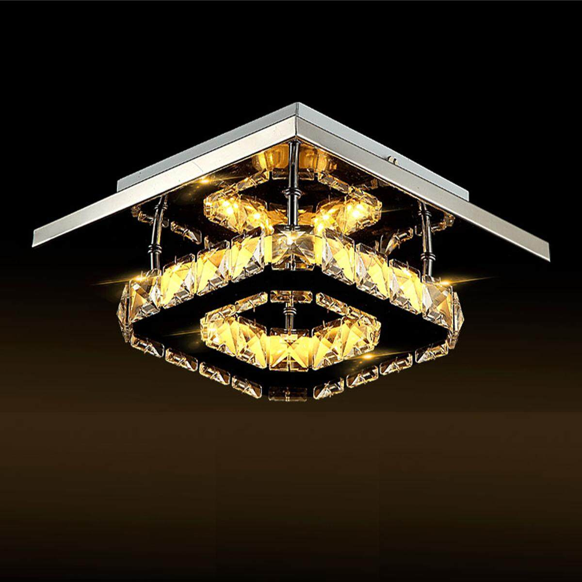 Modern Crystal Ceiling Light Pendant Lamp Fixture Chandelier Living Room Decor#Warm Light
