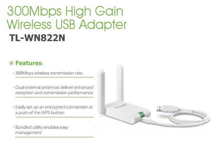 TP-LINK TL-WN822N 3dBi x 2 300Mbps High Gain Wireless USB Wifi Adapter