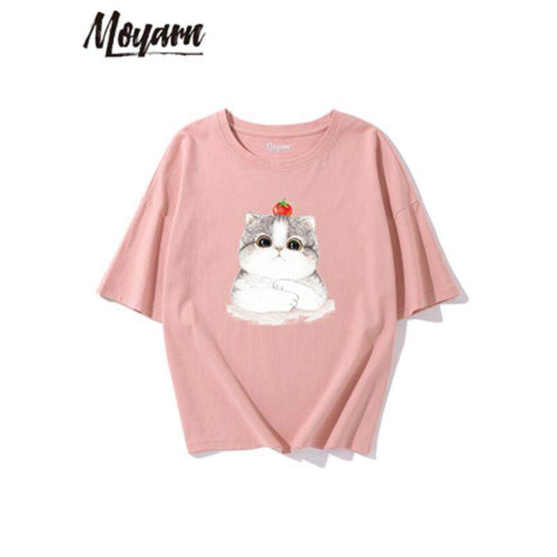 f5f1db74128 Cotton t-shirt female loose student ins half sleeve Hong Kong flavor chic shirt  summer