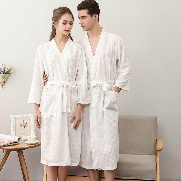Men Women Bath Robe Spring and Autumn Thin Terry Cloth Towel Bathrobe fe2b86685