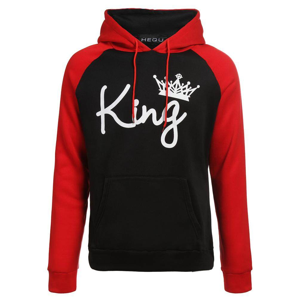 Latest King And Queen Hoodies Pullovers Pants Trousers Valentine Red Black Colors Matching Cute Love Couples
