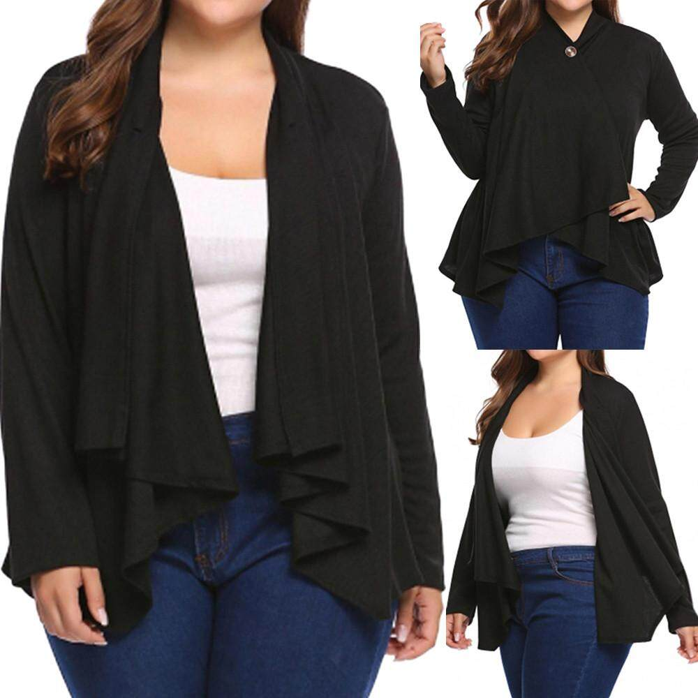 Aiipstore Women Open Cardigan Shrug Long Sleeve Button Sheer Cover Up Cape Coat Plus Size By Aiipstore.