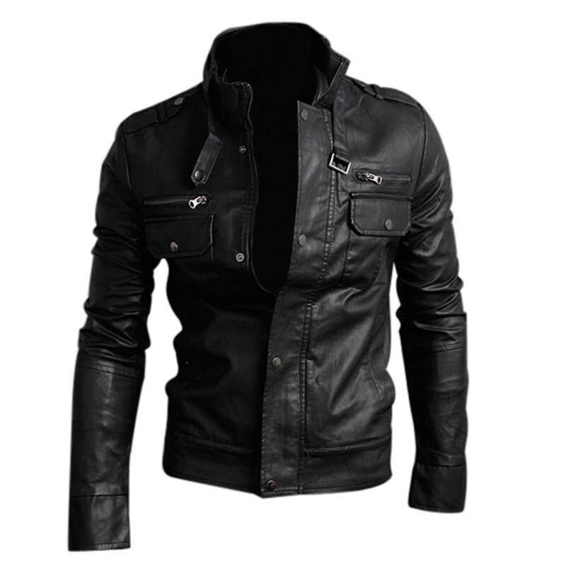 NWT Premium Men's Slim Top Designed Sexy PU Leather Short Jacket Coat Black Size M