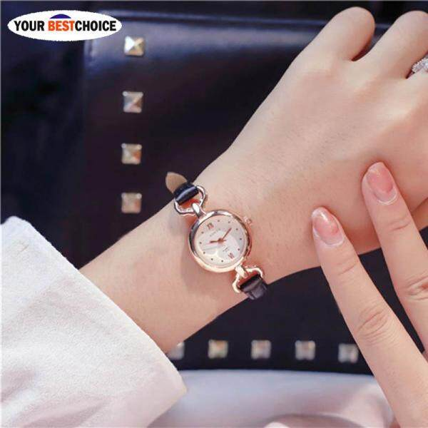 YBC Women Girl Simple Quartz Wrist Watch PU Leather Strap Mini Thin Dial Watches(1pcs Watch) Malaysia