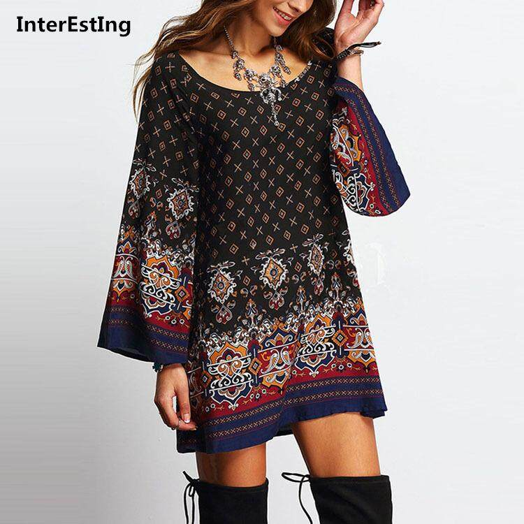 7ed72ae840e Retro Woman Dresses National Style Loose Baroque Printed Summer Dress Female  A-LINE Slim Dress
