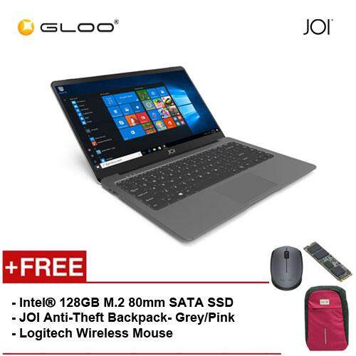 JOI Book 100 - A147DG Cel N3450, 4+32GB, 14 FHD, W10 Home, Dark Grey {Free Intel® 128GB M.2 80mm SATA SSD + JOI Anti-Theft Backpack - Grey/Pink + Logitech M171 mouse} Malaysia