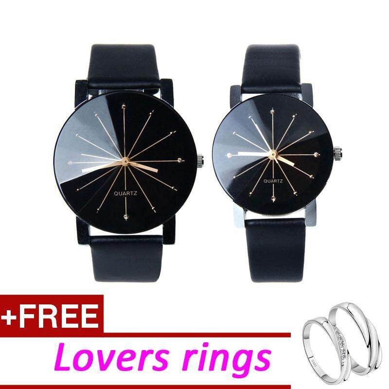 [2Pcs/Set] Hot Sale Fashion Couple Watches Analog Display Round Case Leather Wrist Watch + Free Lovers Rings Malaysia