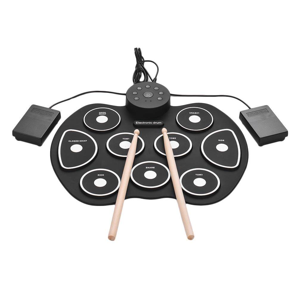 Compact Size Usb Roll-Up Silicon Drum Set Digital Electronic Drum Kit 9 Drum Pads With Drumsticks Foot Pedals For Beginners Children Kids By Tomtop.