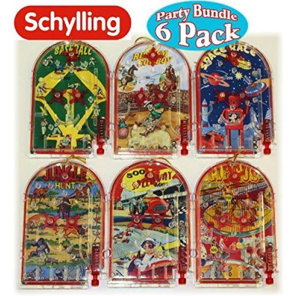 Schylling Classic Mini Pinball Games Party Favor Bundle Featuring Baseball, Space Race, Rideem Cowboy, Circus, 500 Speedway & Jungle Hunt - 6 Pack By Buyhole.