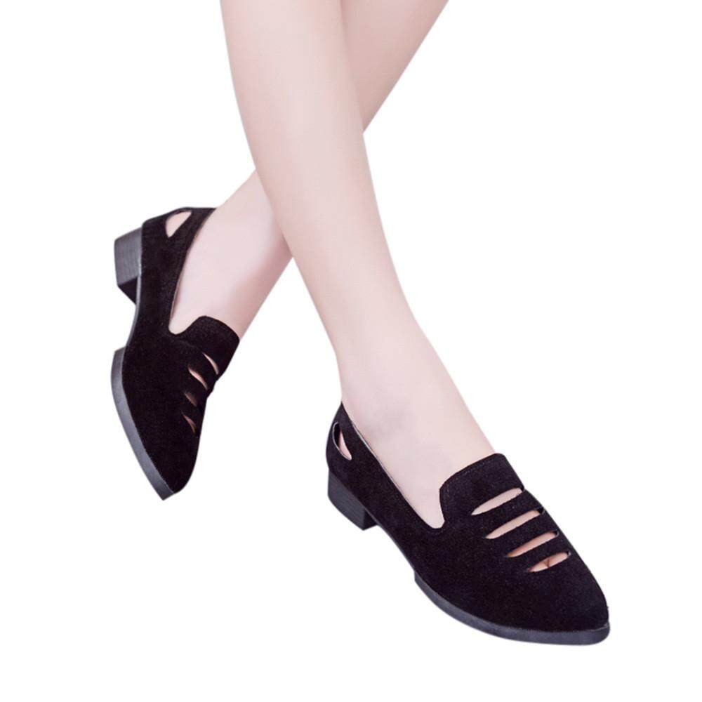 Carolane Women Fashion Hollow Solid Color Pointed Toe Flat Heel Flat Shoes Sandals