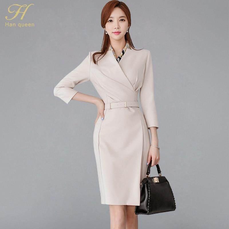 4e45dc81 H Han Queen Beige Notched Neck Formal Suits Dress Women 2018 Autumn Pencil  Bodycon Dresses With
