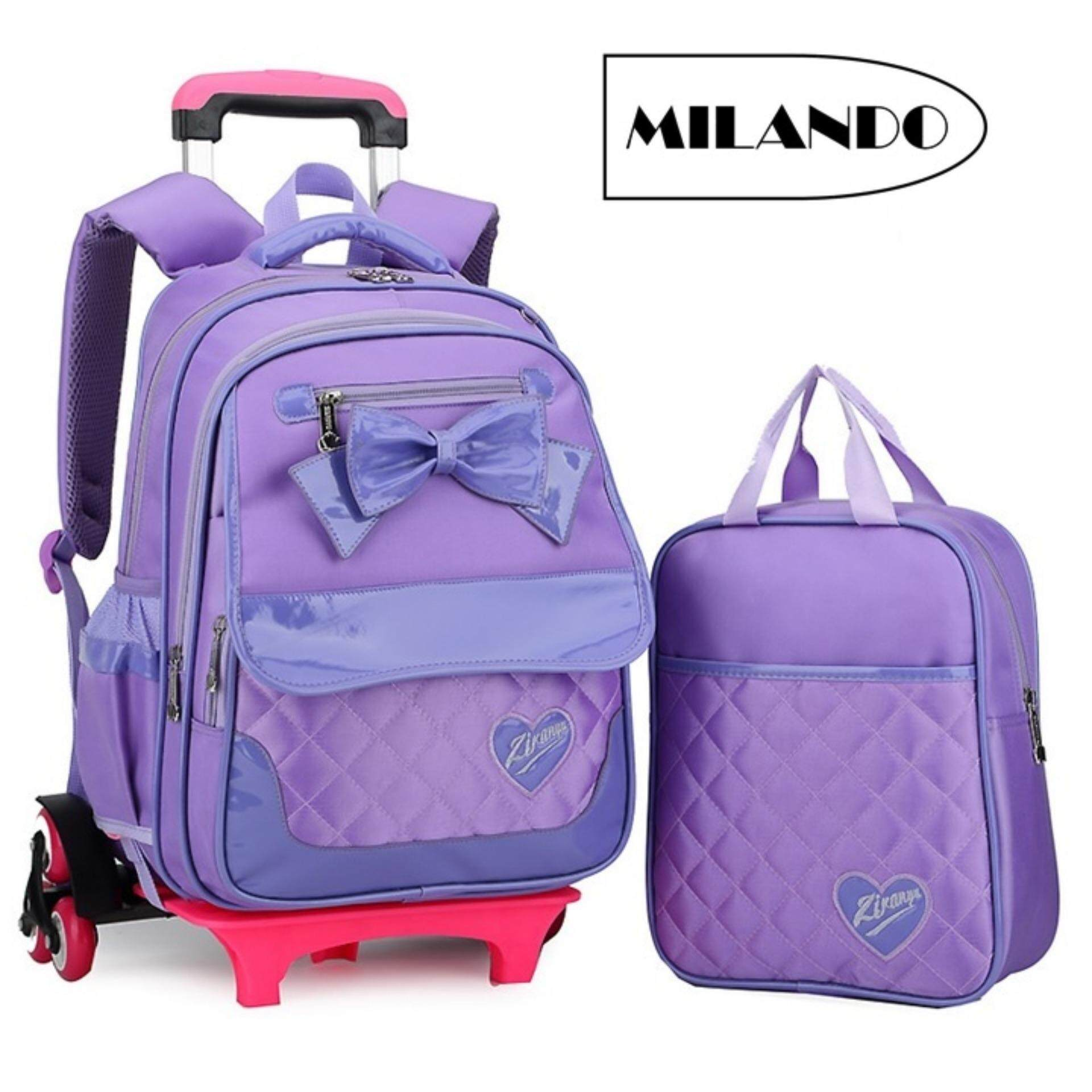 (2 Pieces) Milando 6-Wheel Kid Girl Ribbon Quilt School Bag Backpack Trolley Bag Free Tuition Bag By Milando.