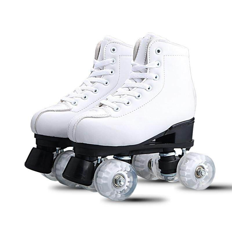 White Black Adult double-row skates Roller skates Adult male and female  double-row a36fe990d3