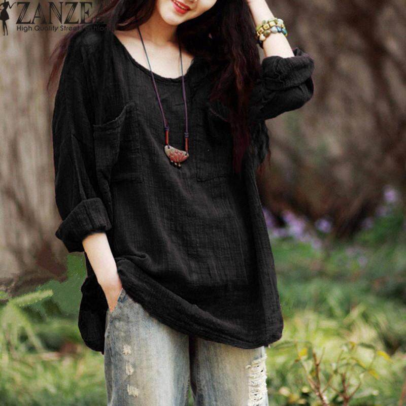 5ce0f2a1f50 ZANZEA New Arrival Blusas Femininas Autumn Shirt Women Blouses Casual Loose  Tops O Neck Long Sleeve