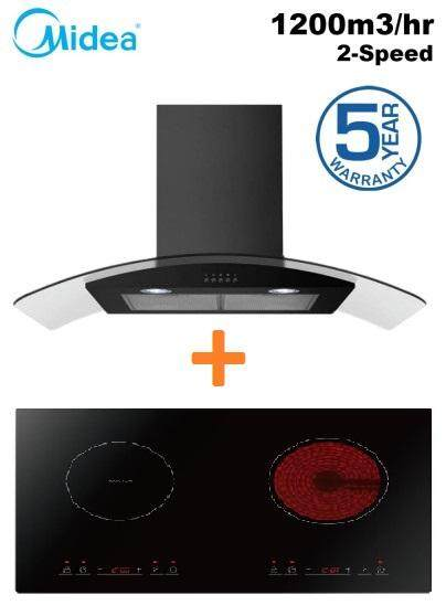 Midea Mch-90mv1 Curve Designer Cooker Hood - Suction Power 1200m³ + Midea Mc-Ihd361 Built-In Induction & Ceramic Hob (1800w) Dual Zone Multi Cooker By Sweet House.