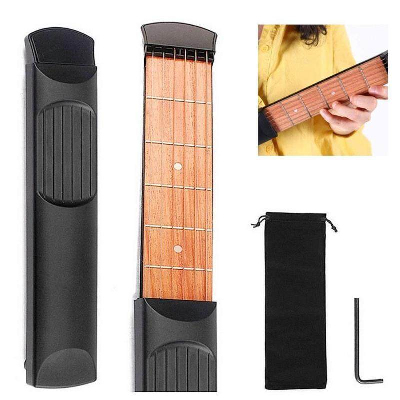Womdee Beginner Guitar,Portable Pocket Guitar ,Acoustic Guitar Chord Trainer Guitar Practice Tool,Finger Exercise, Scales & Chords Practice Tool (6 Fret Black) Malaysia