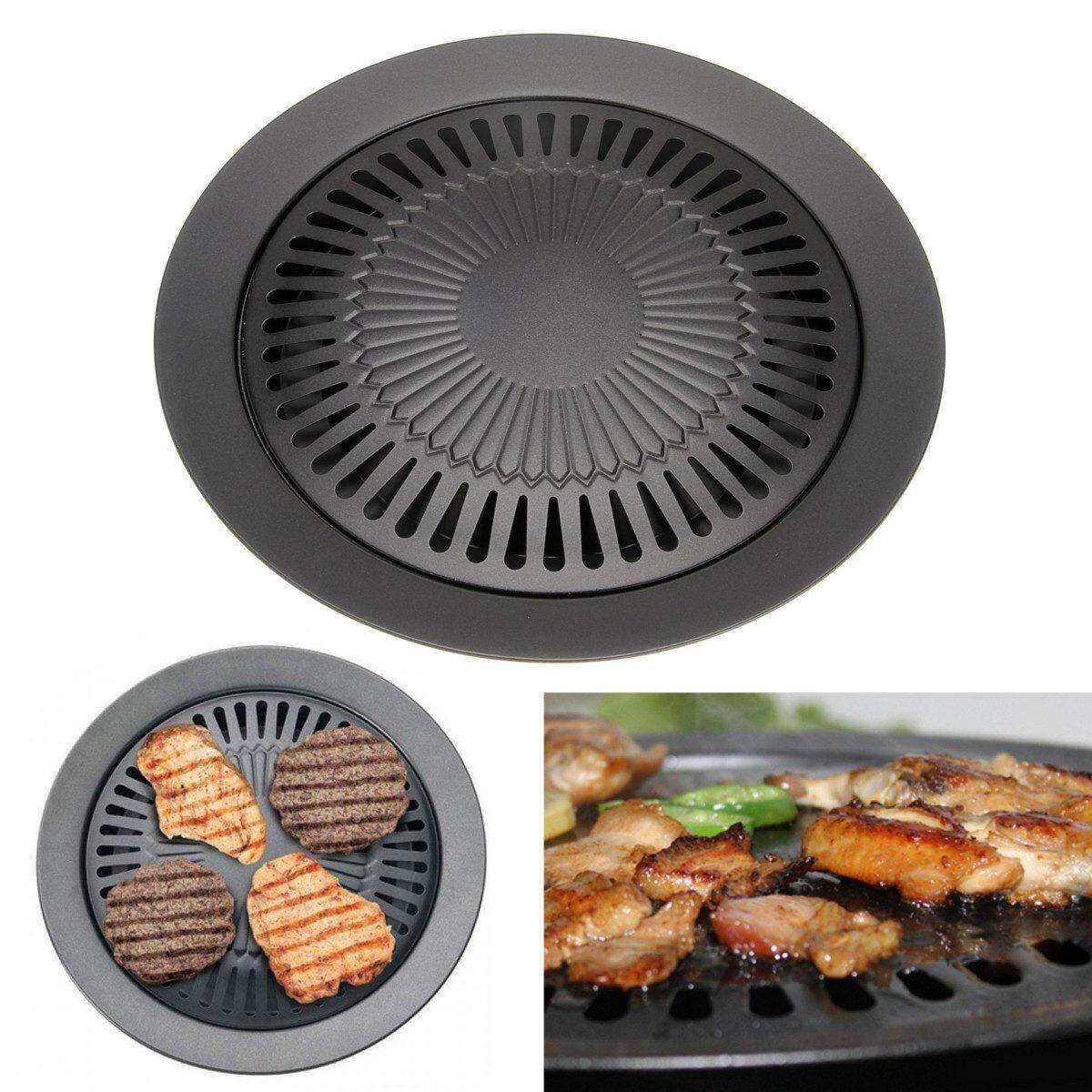 Non-Stick 13 Inch Smokeless Indoor Stovetop Barbecue Bbq Grill Kitchen Pan Griddle By Sunshineyou.