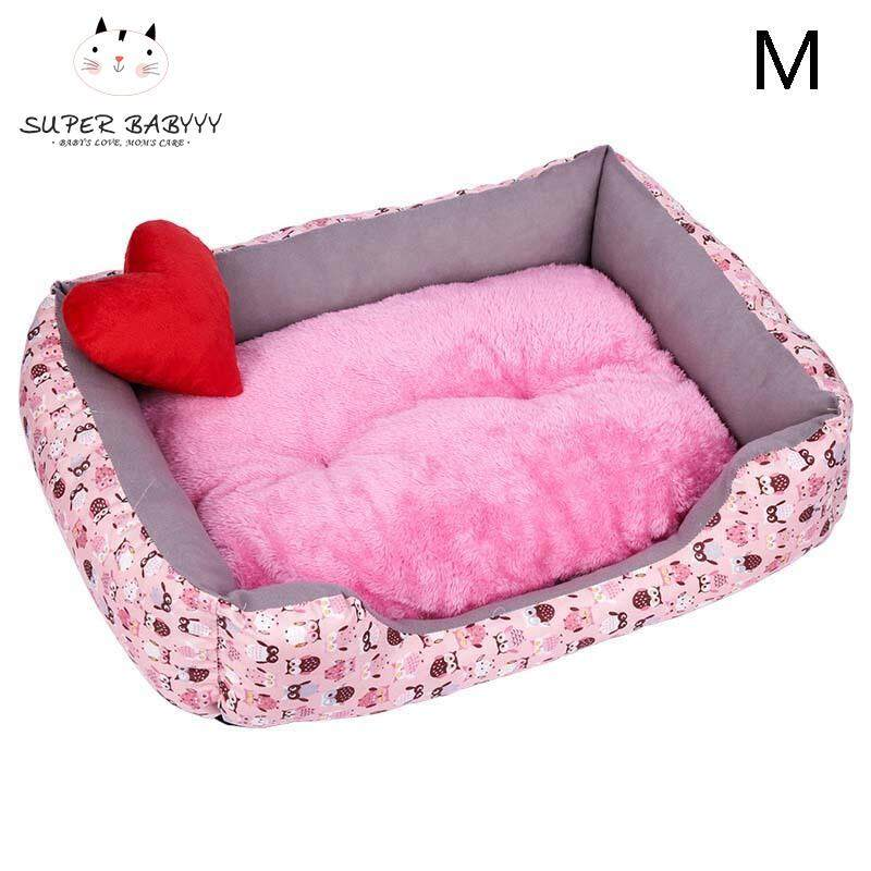 Sby Dog Bed Pet Soft Warm Pp Cotton Cave Cute Detachable Dog Cat Beds Plush Kennel Nest M+pink Owl By Super Babyyy.