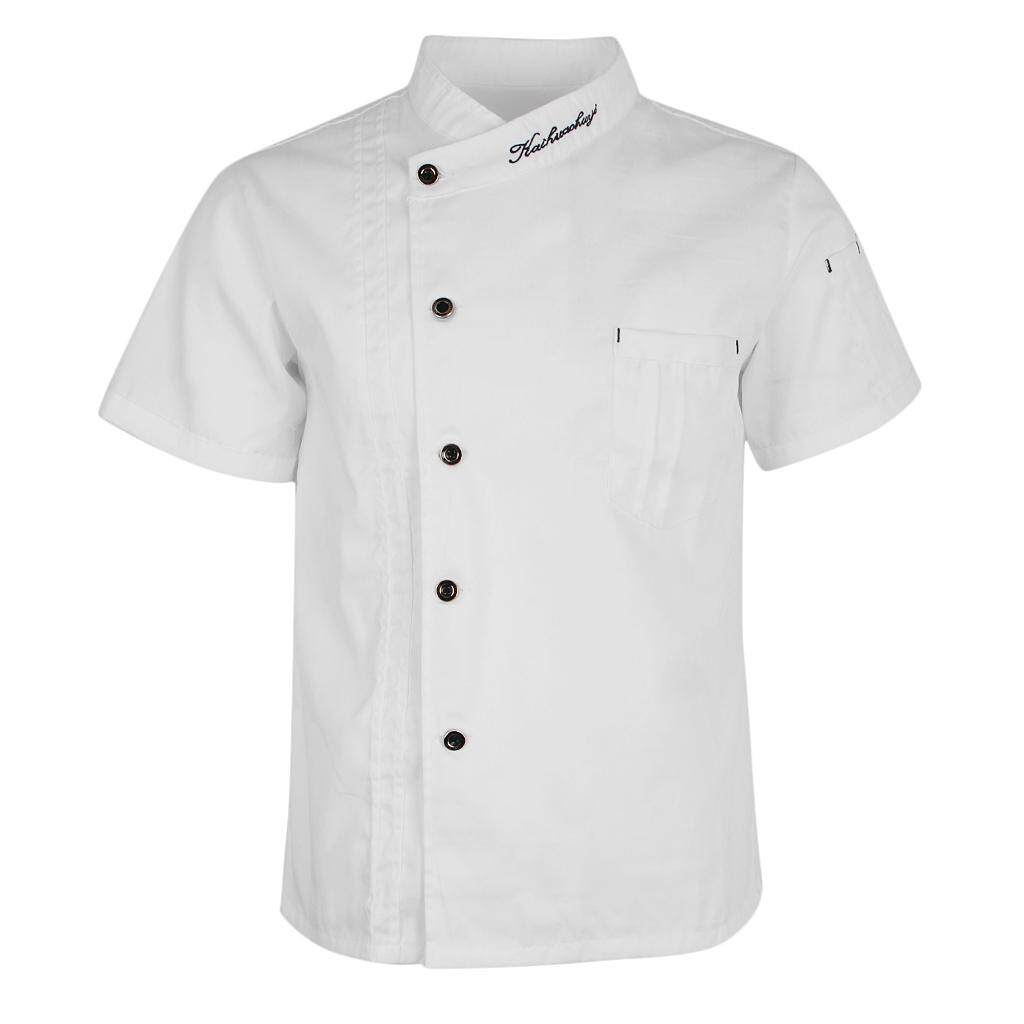 MagiDeal Unisex Chef Jackets Coat Short Sleeves Shirt Kitchen Uniforms White L