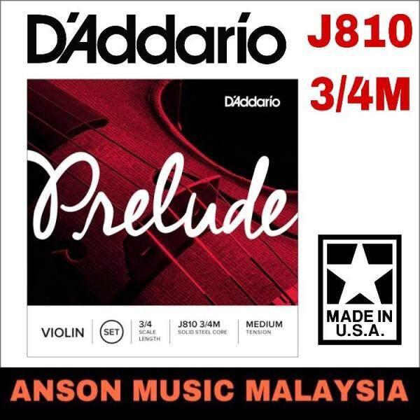 DAddario J810 3/4M Prelude Violin Strings, 3/4 Scale, Medium Tension (Daddario) Malaysia
