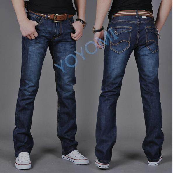 Yoyomi Mens Straight Slim Fit Mid-Rise Long Jeans By Yoyomi.