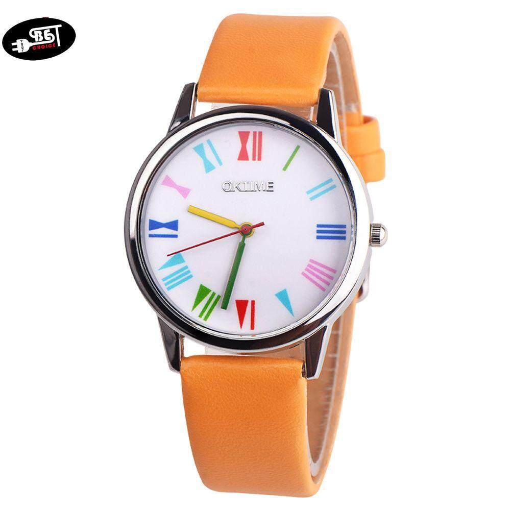 YBC Quartz Wrist Watch with Durable PU Leather Strap Colored Pointer Scale Casual Watch Malaysia