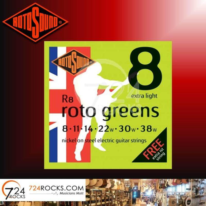 Rotosound R8 Roto Greens Nickel on Steel Electric Guitar Strings 08-38 Extra Light Malaysia