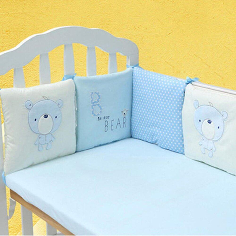 6pcs Popular Crib Bumper Protective Baby Nursery Bedding Comfy Infant Cot Padblue By Moonbeam.