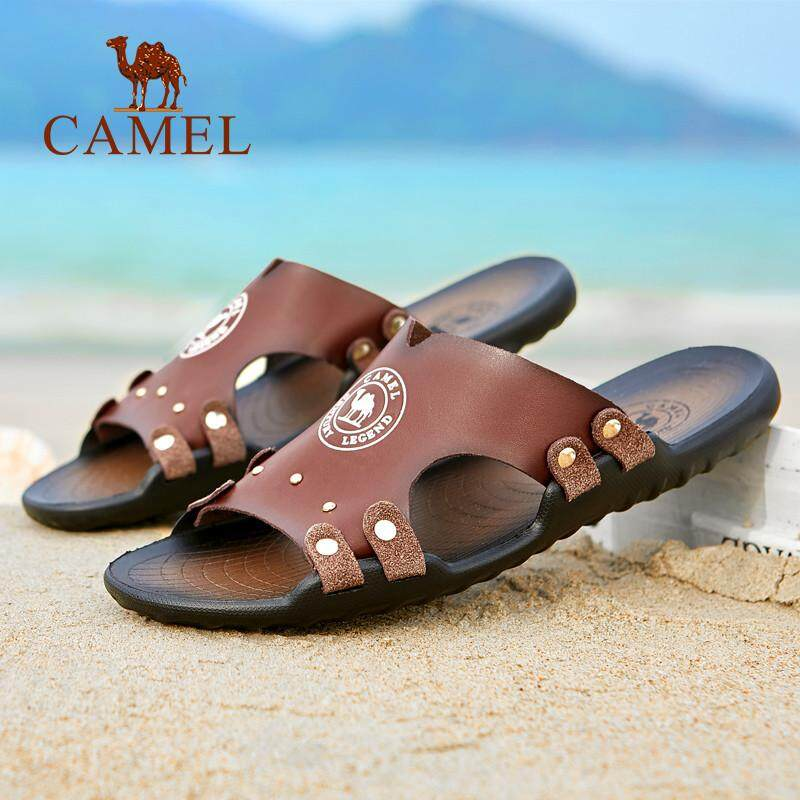 b8f4191ee8fa5 Camel slippers male 2018 summer new word drag Korean version of the trend  British versatile breathable