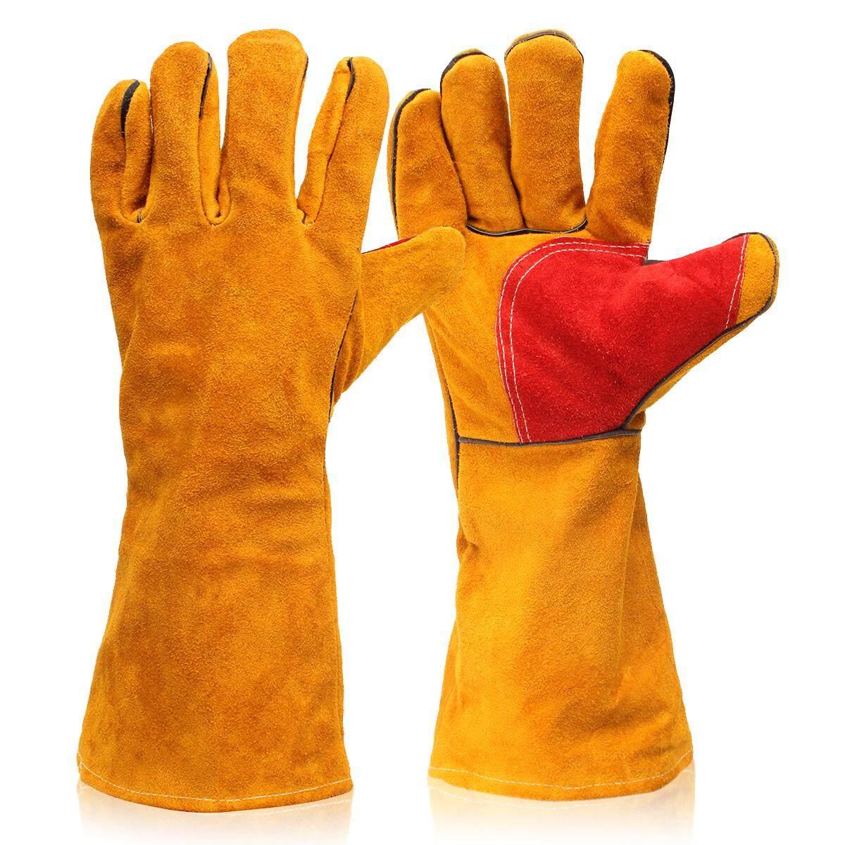 Pair 16 Heavy Duty Lined Reinforced Palm Welding Gauntlets Welder Labor Gloves