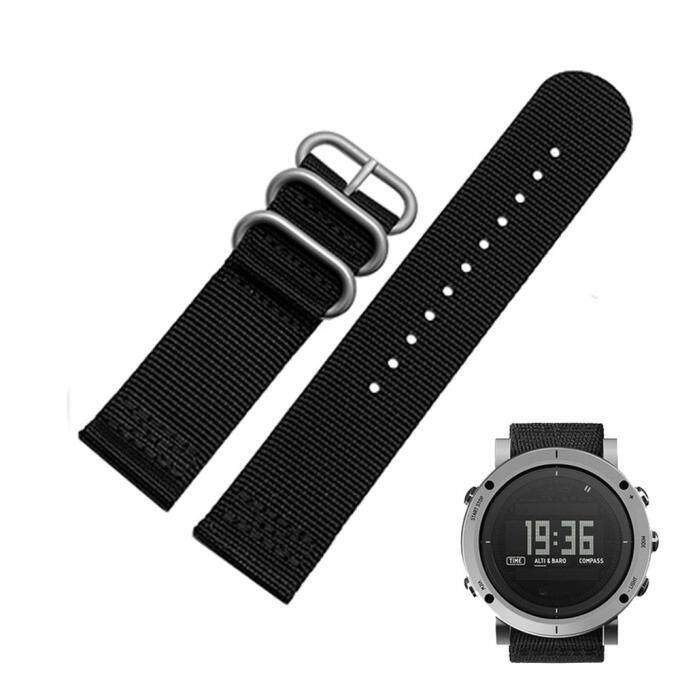 Bigskyie Luxury Nylon Replacement Watch Wrist Band 3 Ring Lugs For Suunto Core Black Malaysia