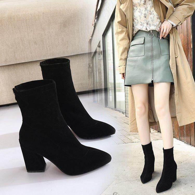 ce9b16fbe4b 2018 Autumn   Winter New Style Korean Style Versatile Block Heel Pointed  Short Boots Female Tube