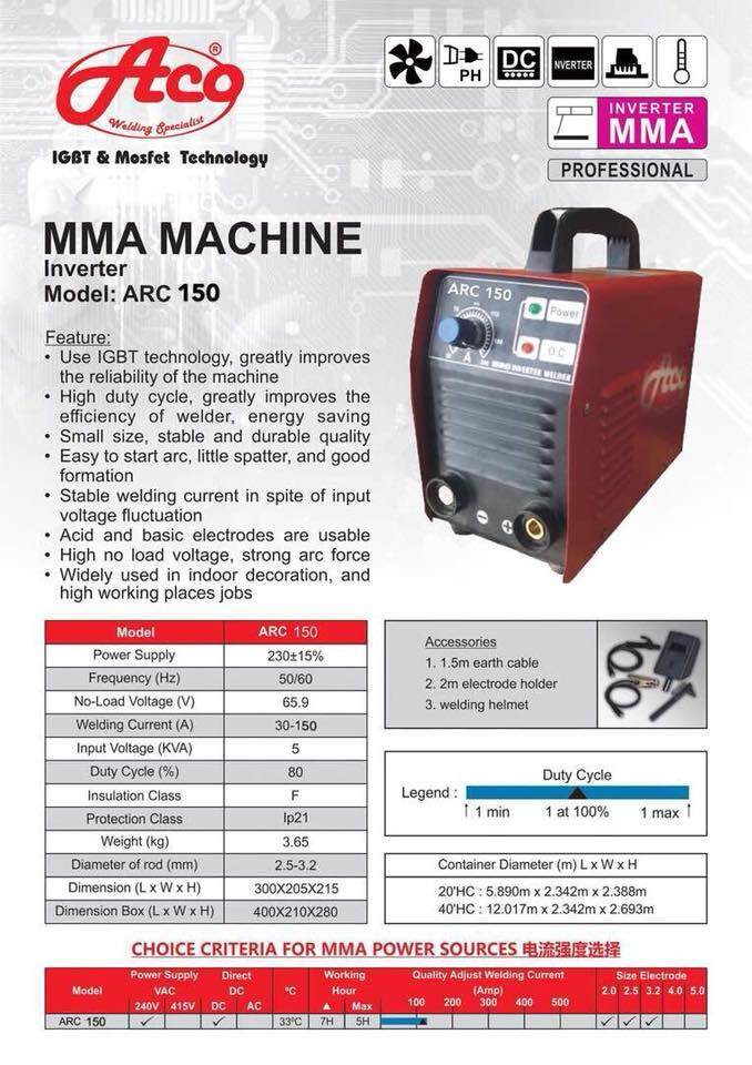 Zolany Aco Welding Machine Arc 150 (Red)
