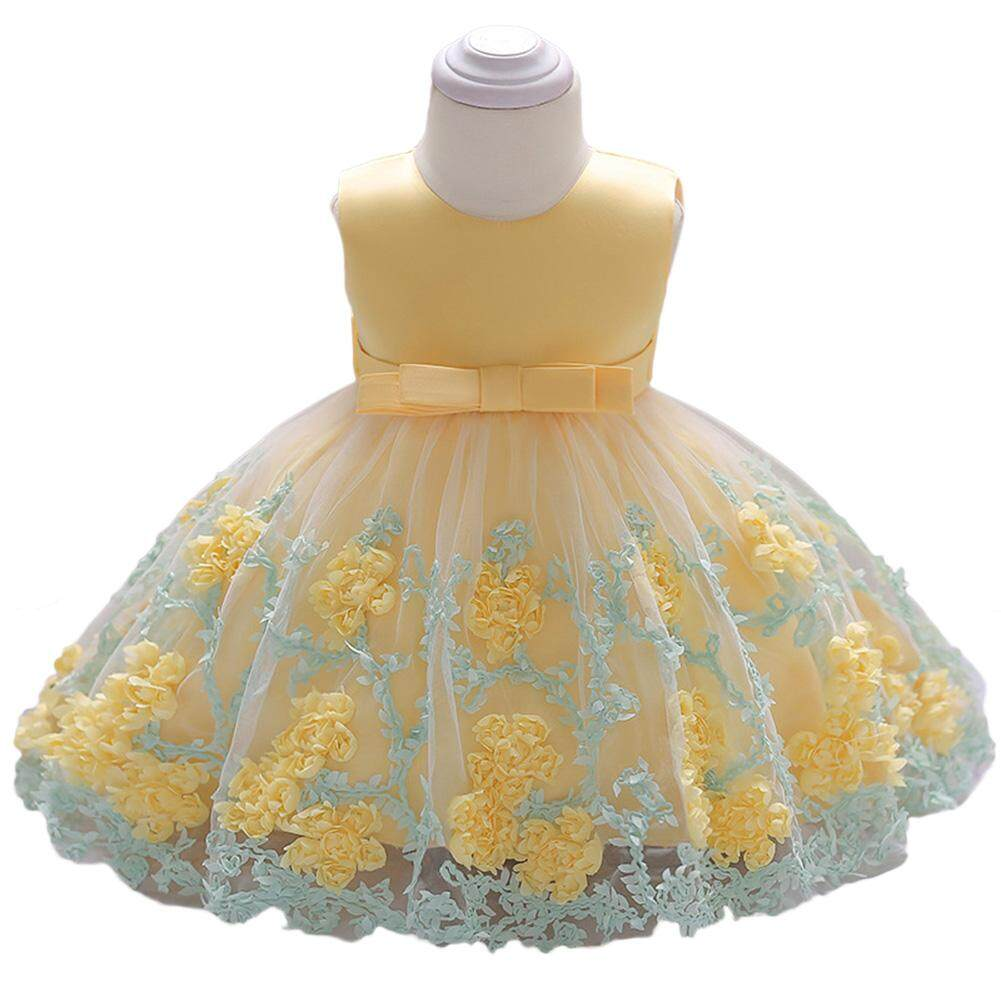 440430a936 DSstyles Baby Girl Cute Elegant Lace Princess Dress Long Sleeveless Bowknot  Flower Skirt Birthday Gift
