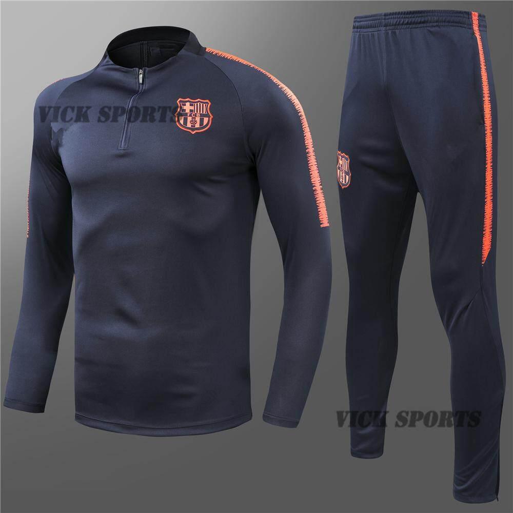 purchase cheap 59d7c 3533f 2019 New Season Blue Barcelona Football Jersey Sweatshirt Suit Soccer Kit  Shirt Suits For Kids Boys Children Training Wear Training T-Shirt Coat And  ...