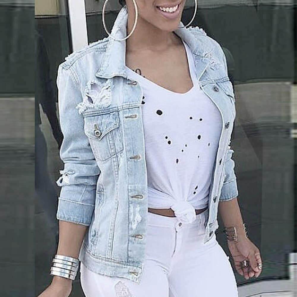 685d26889 Womens Casual Long Sleeve Cowboy Fashion Coat Bllouse Button T-Shirt Tops