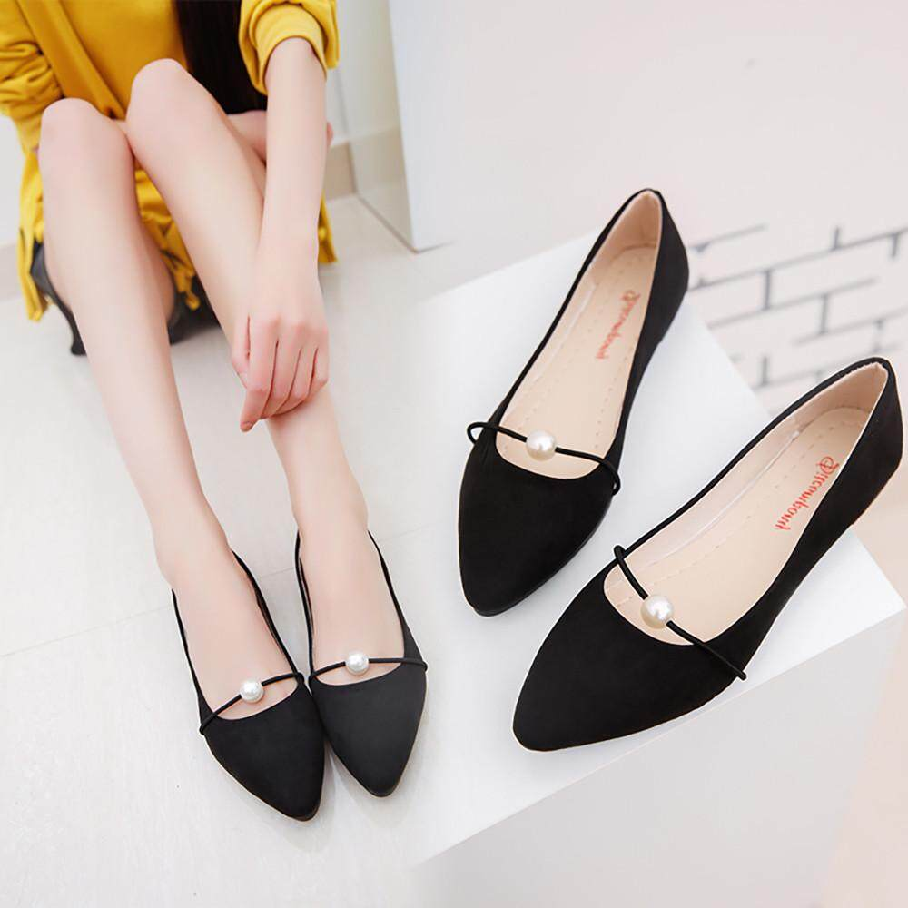 c465431ef26 Erpstore Pointed Flat With Pearl Shoes Women Flat Student Shoes Peas Shoes  BK35