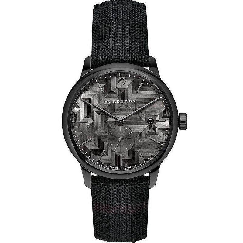 d9eaefe4b88 Burberry Unisex Classic Black Dial Pattern Leather Watch BU10010