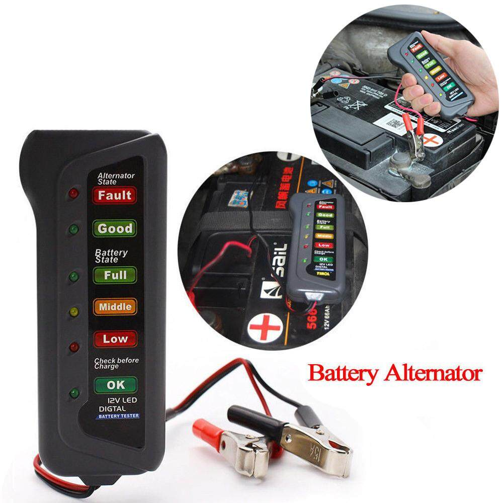 Battery Testers Buy At Best Price In Malaysia Protection Circuit Board For 74v Power Tool 12v Car Digital Alternator Tester 6 Led Lights Display Diagnostic