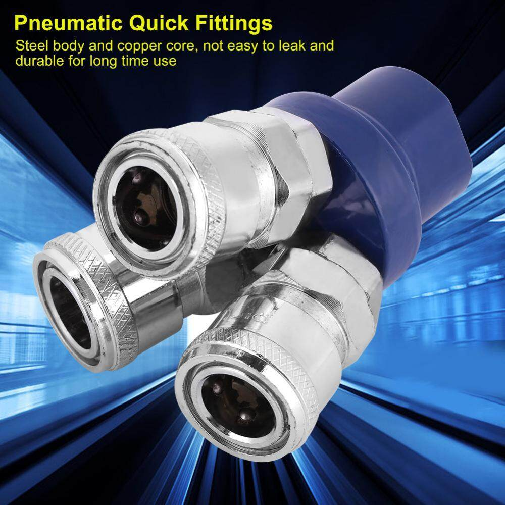 12mm Air Hose Pneumatic 3 Way Female Socket Connector Quick Fittings 1/4