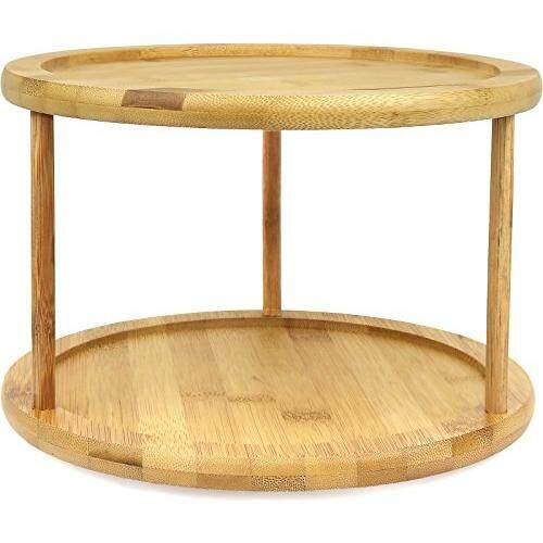 Greenco Premium Bamboo 2 Tier Lazy Susan Turntable By Cross Border.