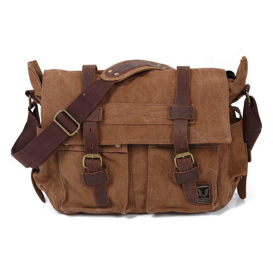 Men s Vintage Canvas Leather School Military Shoulder Bag Messenger Sling Crossbody  Bag Satchel-Light coffee e7dcf7418e879