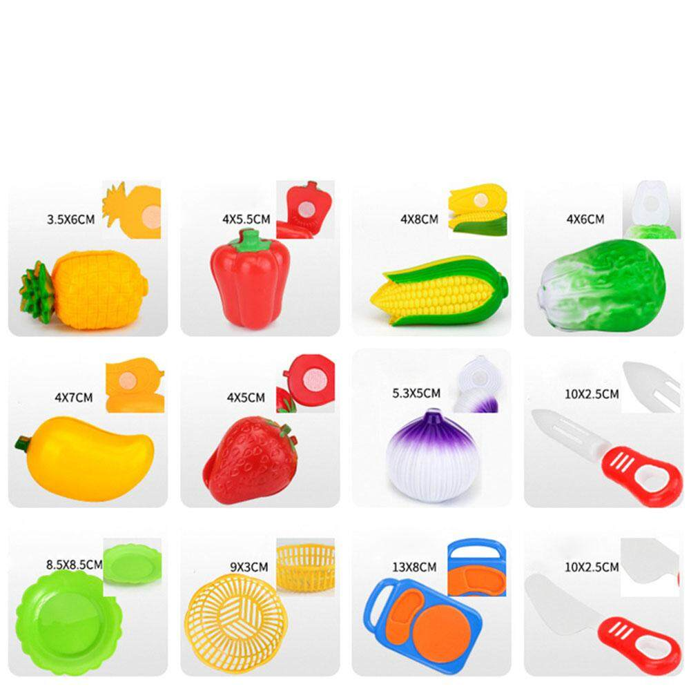 Pellet12 12pcs Children Cutting Fruits Vegetables Set Puzzle Pretend Play Toys as Gifts - 5