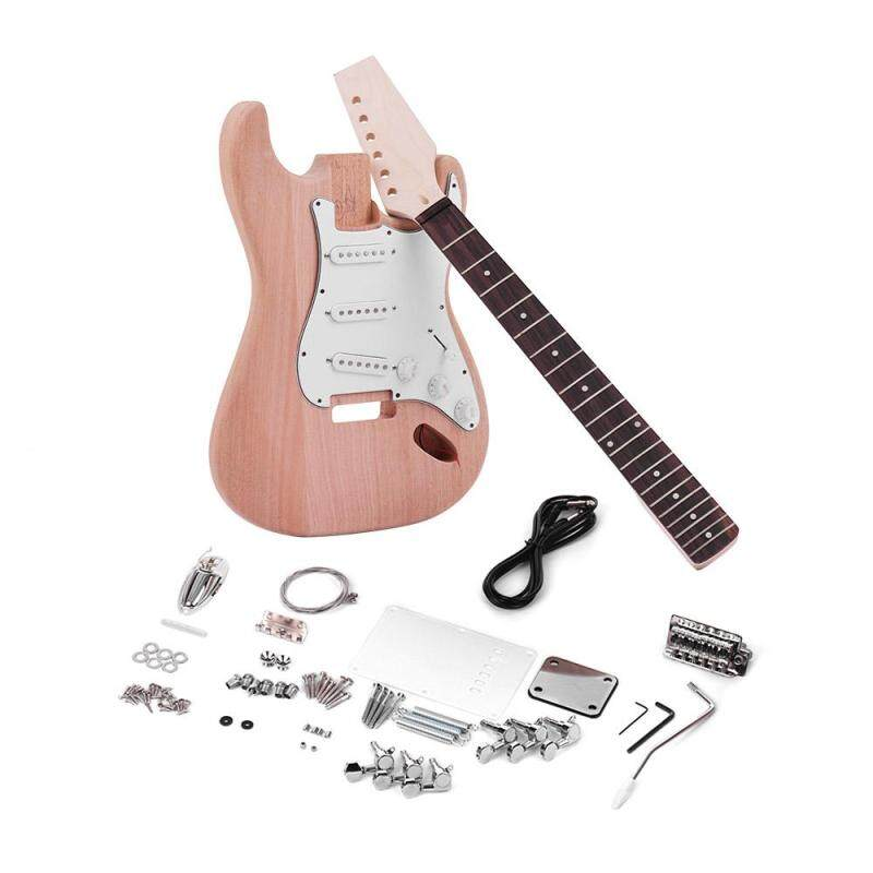 Muslady ST Style Unfinished DIY Electric Guitar Kit Mahogany Body Maple Guitar Neck Rosewood Fingerboard Malaysia
