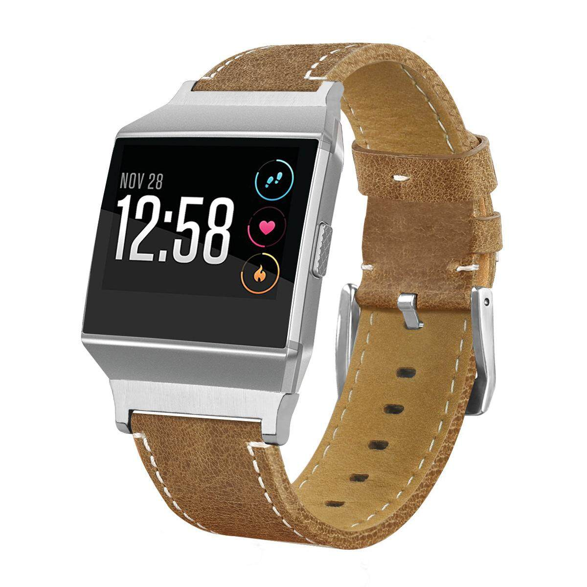 Leather Watch Bands Replacement Wrist Strap for Fitbit ionic Smart watch strips #B-brown Malaysia