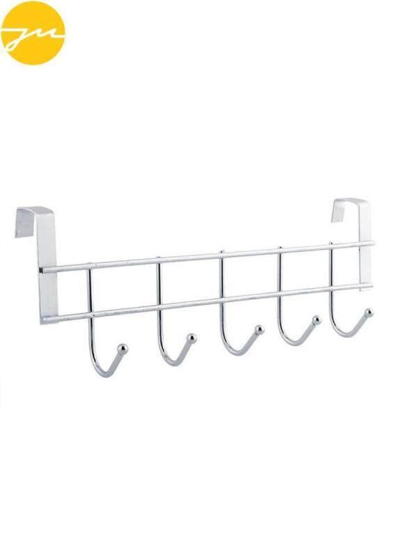 New 5 hooks Stainless Steel Door Bathroom Towel Hanger Holder Loop Organizer