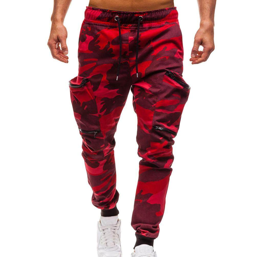2dea630a6ac61 Men's Drawstring Classic Camo Joggers Pants Zipper Pockets Sweat Pants MML