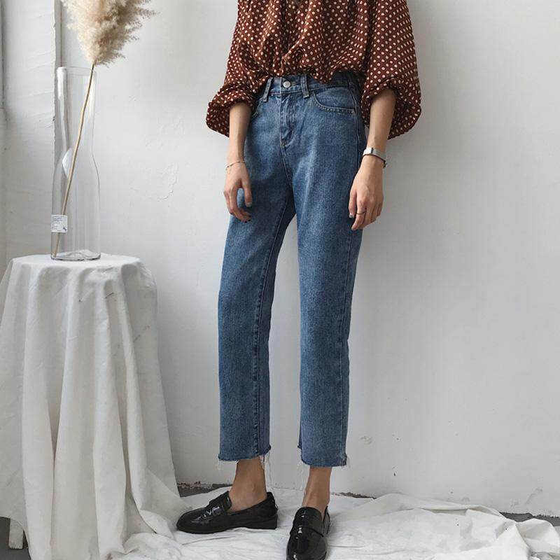 Spring dress 2018 new style of female Han Ban tore a side jeans student 100 take