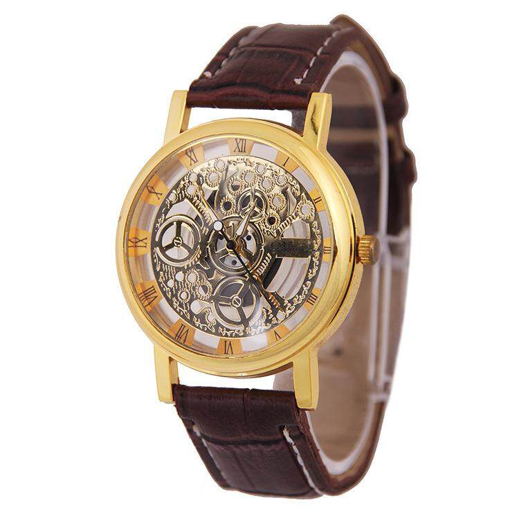 Whatsko Hollow Engraving Case Skeleton Dial Quazt Men Watch (Brown Gold) Malaysia
